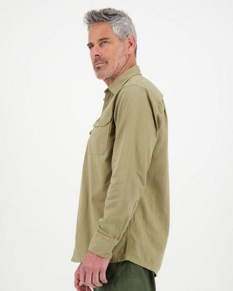 K-Way Men's Elements Safari Heavyweight Long Sleeve Shirt  -  khaki