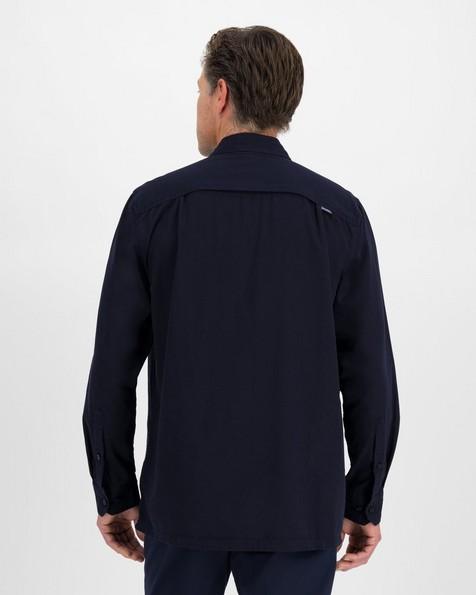K-Way Men's Elements Safari Heavyweight Long Sleeve Shirt  -  navy