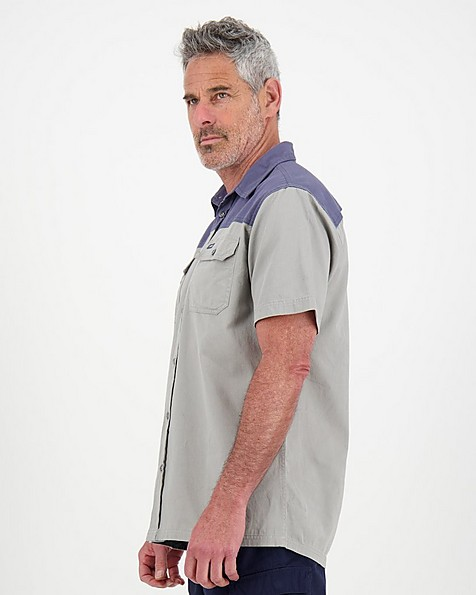 K-Way Men's Elements Safari Heavyweight Short Sleeve Shirt -  grey