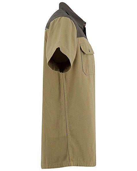K-Way Men's Elements Safari Heavyweight Short Sleeve Shirt -  khaki