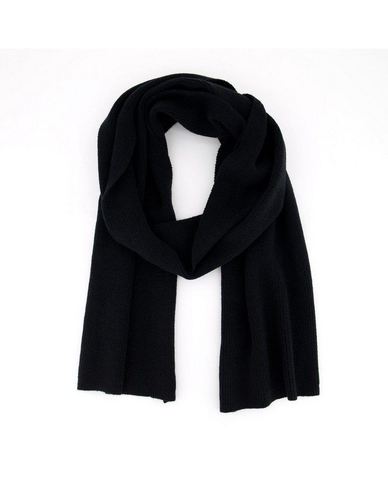 Silke Ribbed Scarf -  black