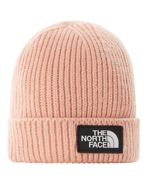 The North Face TNF Logo Box Cuffed Beanie -  cream