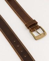 Old Khaki Men's Saul Stitch Detail Worn Leather Belt -  brown