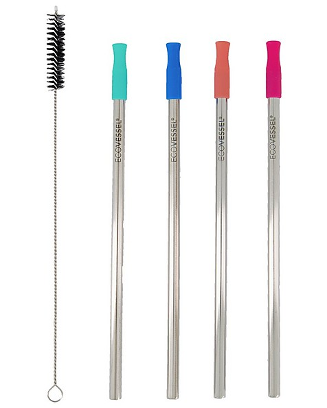 Ecovessel 4-pack Stainless Steel straw Set -  assorted