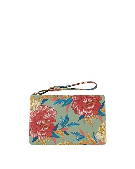 Ayla Floral Printed Pouch -  lightgreen