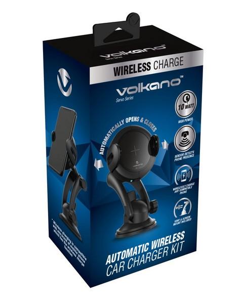 Volkano Servo Series Automatic Car Wireless Charger Kit -  black