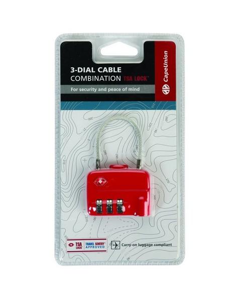 Cape Union Cable Lock TSA Lock 3-Dial Combination -  red