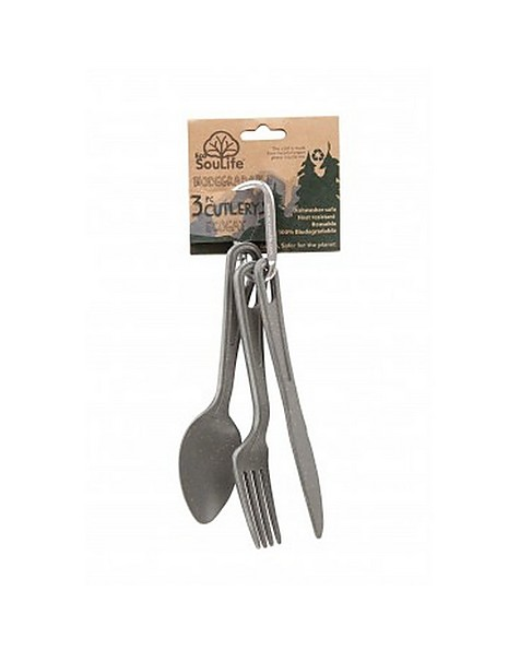 EcoSoulife Three Piece Cutlery Set -  charcoal
