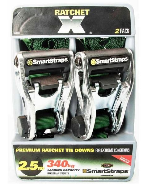 SmartStraps 2.5m Pad Ratchet Tie Down -  green