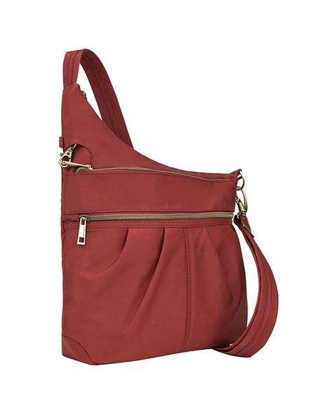 Travelon Anti-Theft Signature Three Compartment Crossbody Bag -  red
