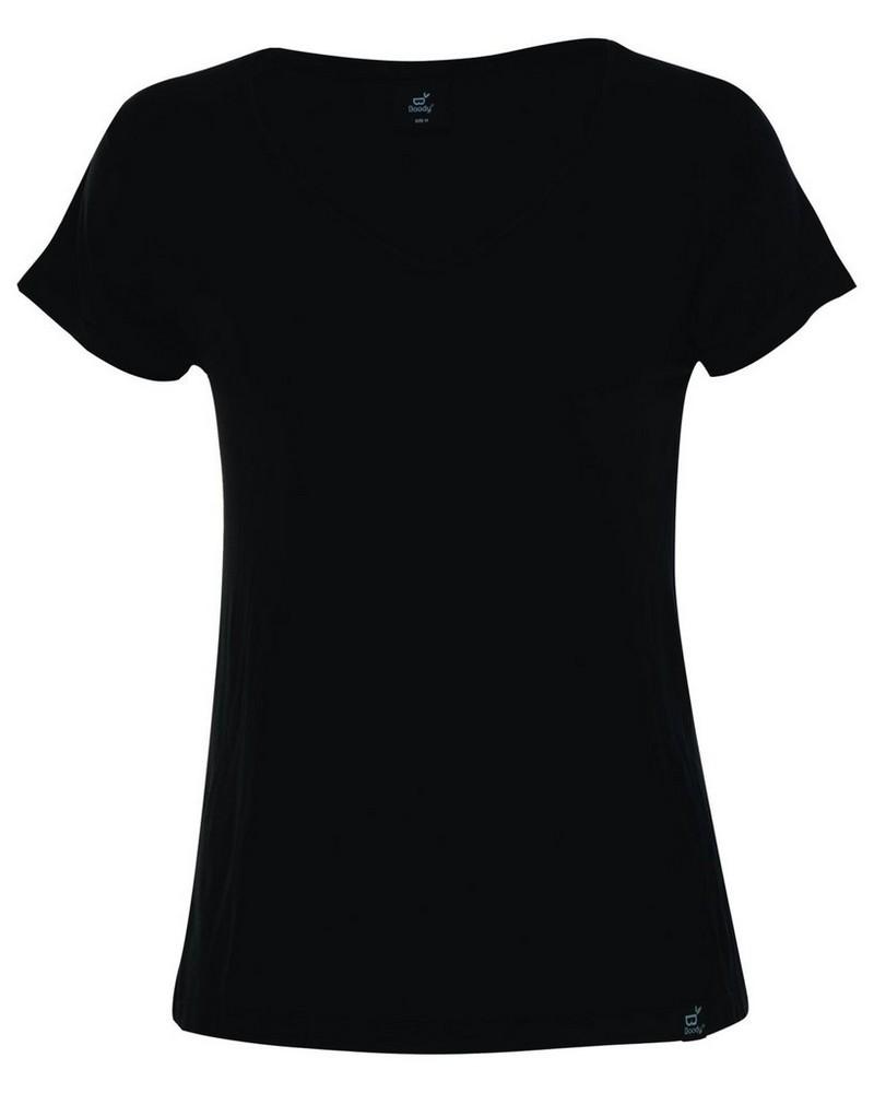 Boody Womens V-neck T-shirt -  black