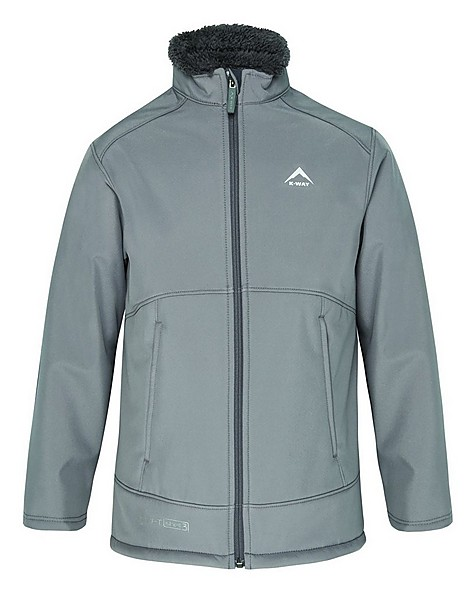 K-Way Youth Grizzly 3-Ply Sherpa Softshell Jacket -  grey-charcoal