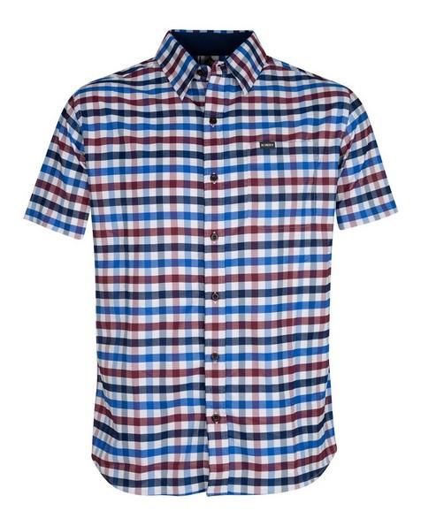 K-Way Men's Explorer Vaillant Short Sleeve Check Shirt -  blue-burgundy
