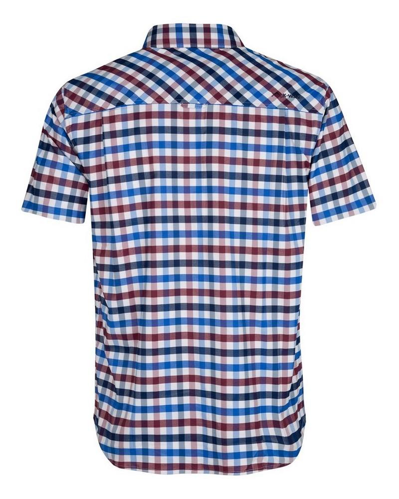 K-Way Explorer Vaillant s-s Check Shirt Mens -  blue-burgundy