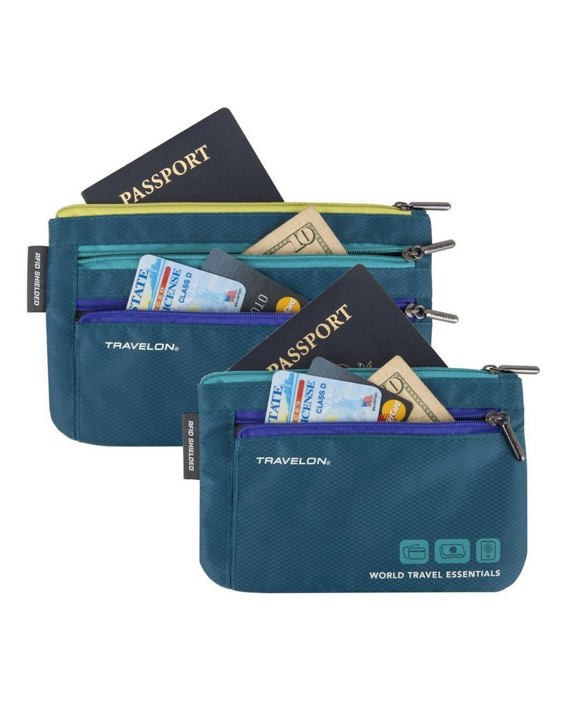 World Travel Essentials Set of 2 Currency and Passport Organizers -  turquoise