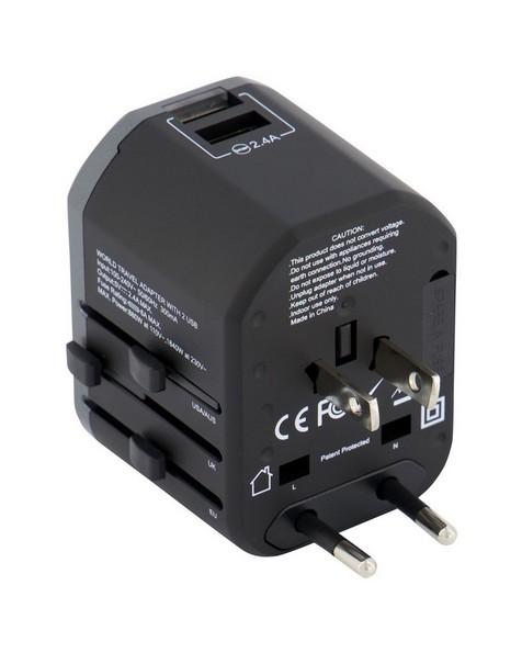 Birst Worldwide Travel Adapter - 2 USB Port  -  black-grey