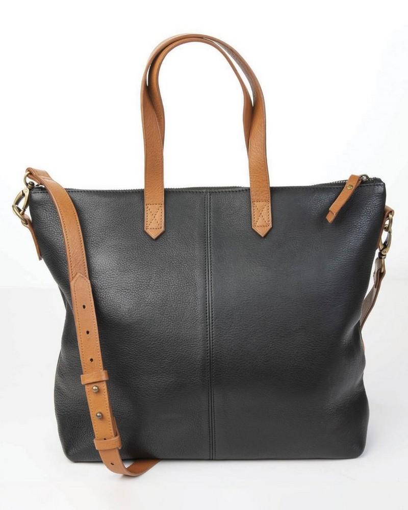 Tatum Leather Shopper -  black-tan