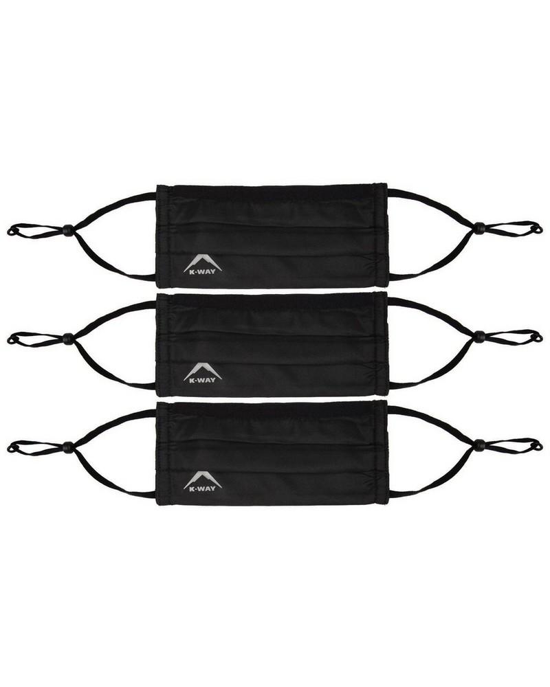 K-Way MB2 Fabric Face Mask 3-Pack -  black-black
