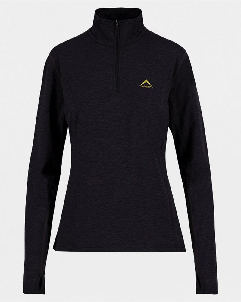 K-Way Women's Jade Quarter Zip Fleece Jacket -  black-ochre