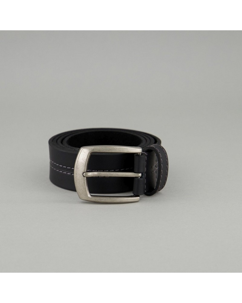 Old Khaki Men's Beckham Contrast Centre-Stitch Leather Belt -  black