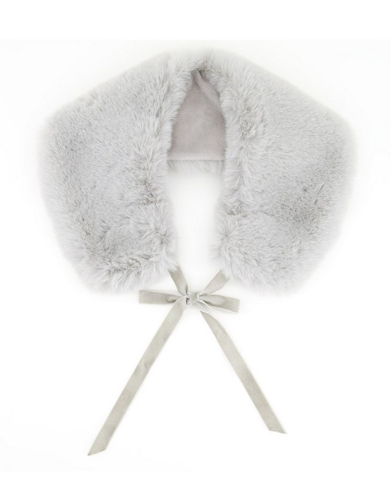 Girls Fur Collar -  silvergrey