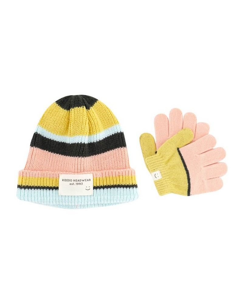 Girls Kaya Stripe Beanie & Glove Set -  lightpink