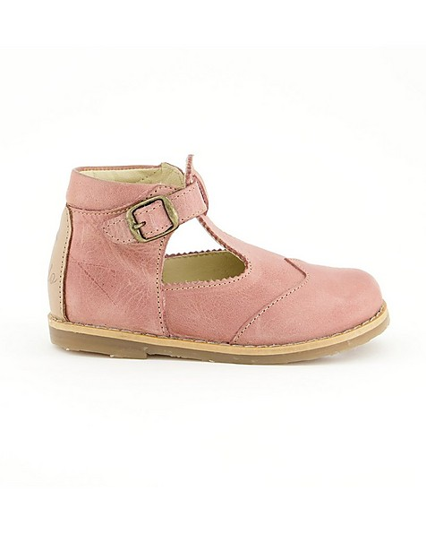 Little P Girls Blush T-Bar Leather Shoes -  dustypink