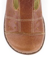 Little P Tan T-Bar Leather Shoes -  brown