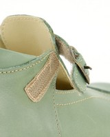 Little P Sage T-Bar Leather Shoes -  green