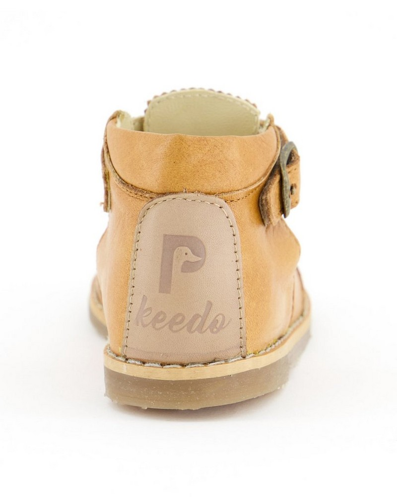Little P Girls Toffee T-Bar Leather Shoes -  brown
