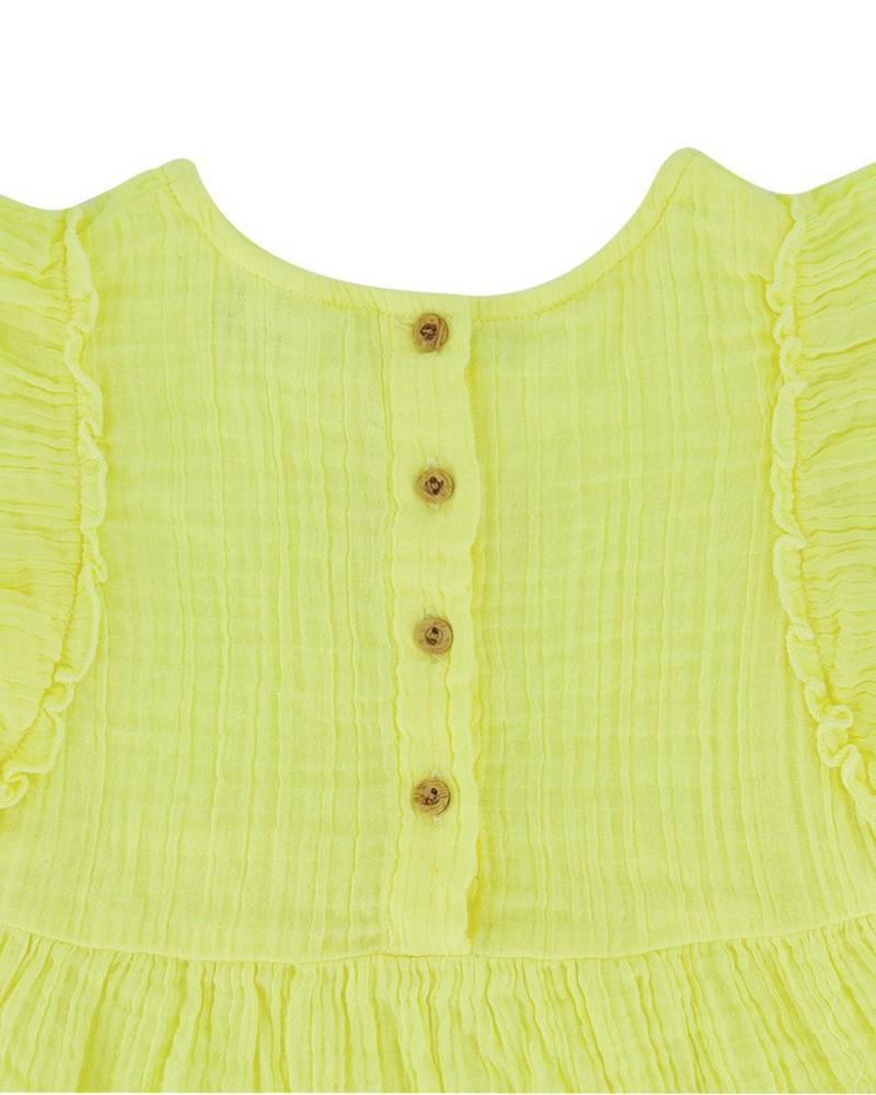 Girls Myra Frill Dress -  lemon
