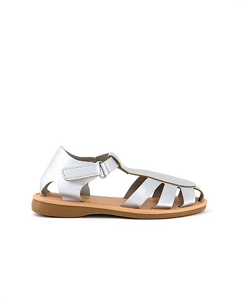 Girls Silvery Cage Sandals -  silver