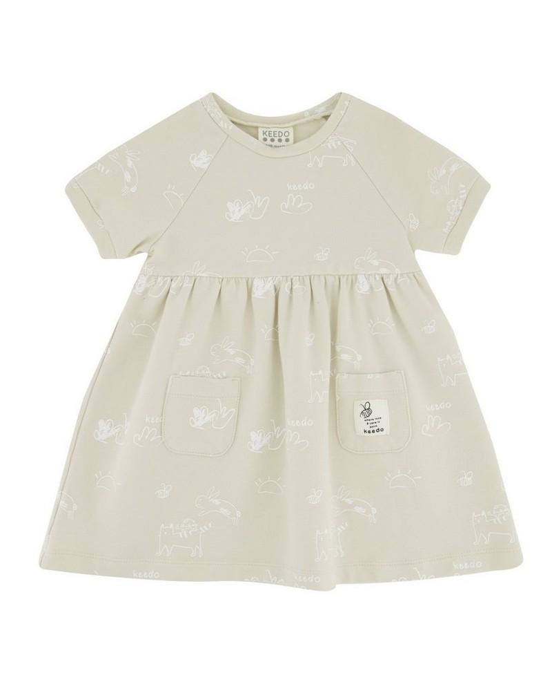 Baby Girls Bee Kind Dress -  oatmeal