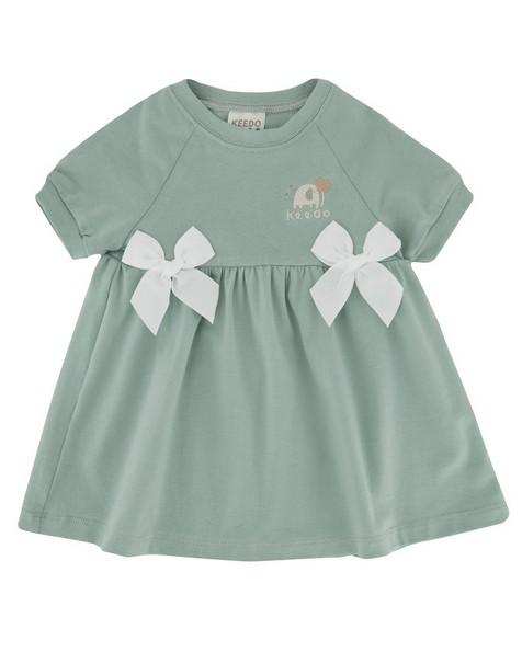 Baby Girls Misty Bow Dress -  duck-egg