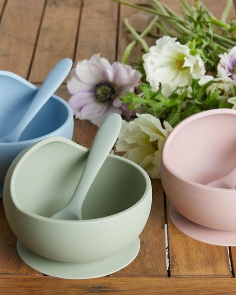 Cloud Blue Silicone Bowl and Spoon Set -  cloudblue