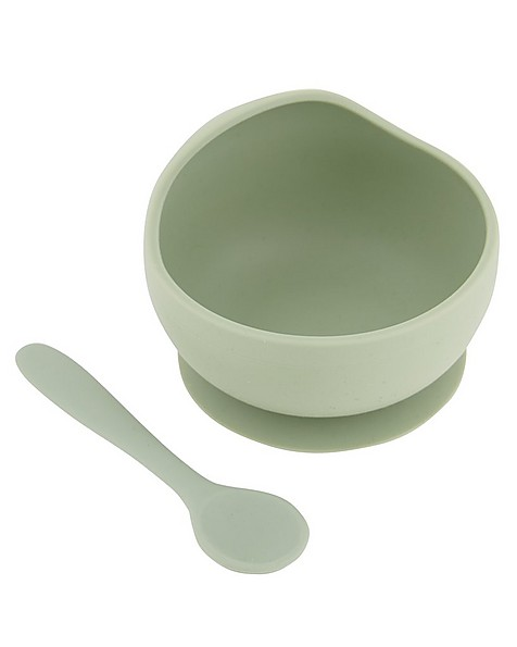 Sage Silicone Bowl and Spoon Set -  palegreen