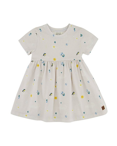 Baby Girls Cloud Cutline Dress -  silvergrey