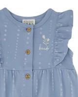 Baby Girls Vertical Dot Button Grow -  cloudblue