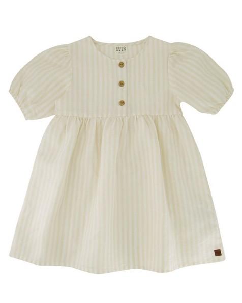Girls Stone Striped Button Dress -  oatmeal