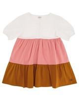 Girls Colourblock Poplin Dress -  assorted