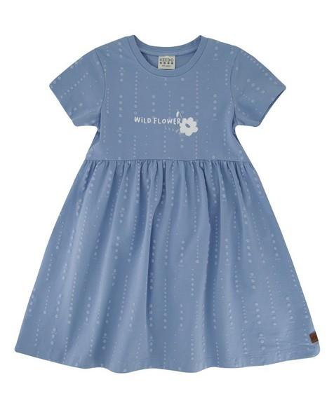 Girls Vertical Dot Cutline Dress -  cloudblue