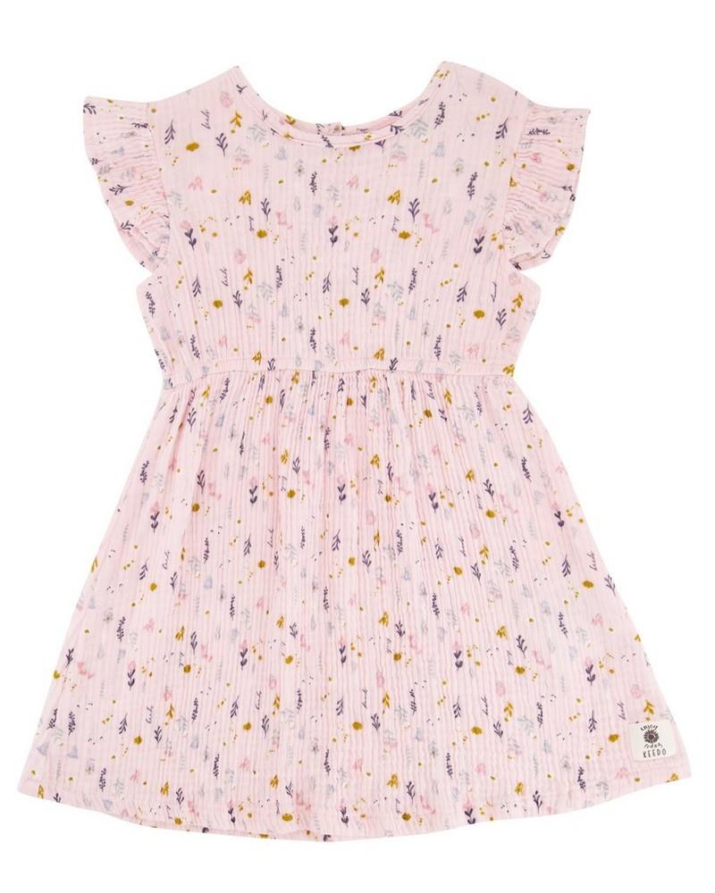 Girls Vertical Ditsy Cutline Dress -  palepink