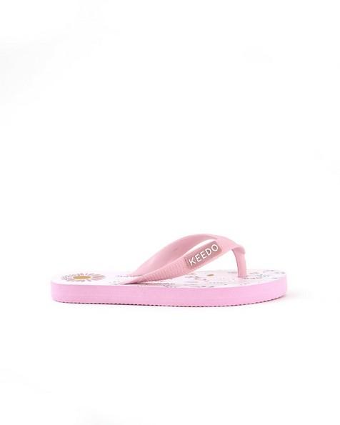 Girls Ditsy Floral Flip Flops -  lightpink