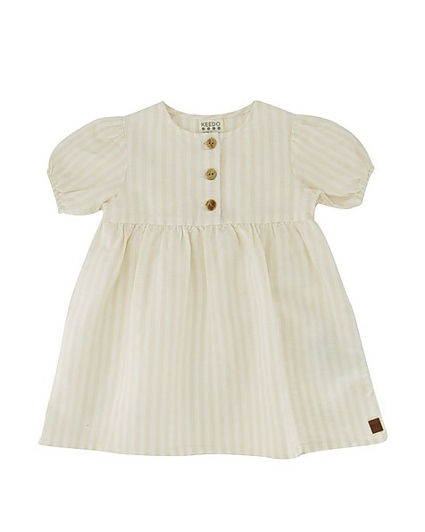 Baby Girls Stone Striped Button Dress -  oatmeal