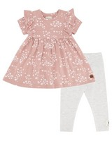 Baby Girls Cluster Ditsy Frill Dress Set -  dustypink