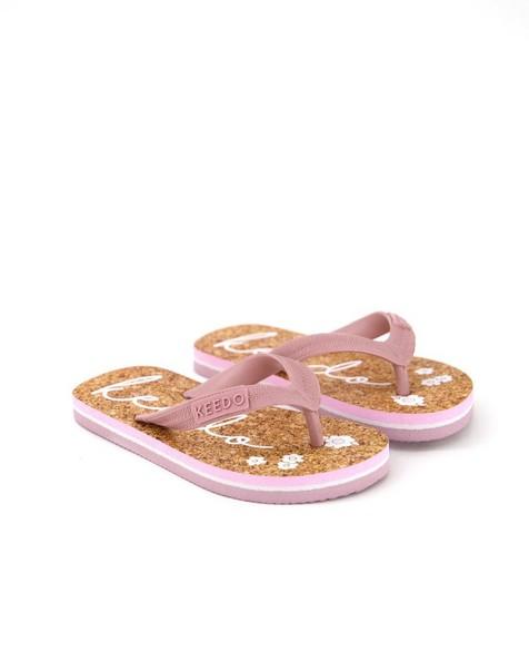 Girls Logo Flip Flops -  brown
