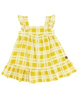 Baby Girls Daisy Checkered Dress -  eggyellow