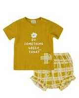 Baby Girls Daisy Check Bloomer Set -  eggyellow