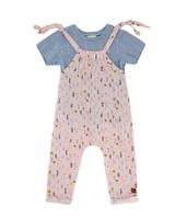 Baby Girls Vertical Ditsy Dungi Set -  palepink