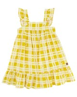 Girls Daisy Checkered Dress -  eggyellow